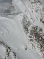 Motivierte Aufstiegs-/Abfahrtsroute aus dem Bretsteingraben.