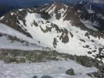 die Gipfelnordrinne hinunter