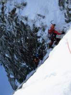 Ausstiegsmöglichkeit über 20m Eisrampe (WI 2)