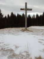Oberhalb des Almkreuzes Schneemangel