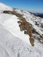 Der Aufstieg an der Kante zum Großen Steinkorb sollte nur bei idealen Verhältnissen gewagt werden. Das gleiche gilt für die Abfahrt.