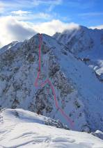 Übersicht Gipfelrinne 1 (Foto Feb. 2017)