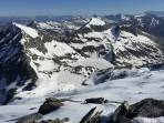 Blick vom Weinschnabel auf oberen u. unteren Schwarzsee.Im Vordergrund li das Marchkareck, Mitte der Frauennock, am Horizont Hagen- Tennengebirge, der Faulkogel, Mosermandl, Weisseck, ganz re hi der Dachstein