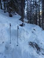 Eine Rutschung quert den Aufstiegsweg im sehr steilen Wald.