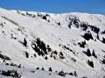 Beobachtete Grundlawine unterhalb des Stadelfirsts. Abgang um etwa 09:30, Ausrichtung Südost, Höhe ca. 1800 Meter.