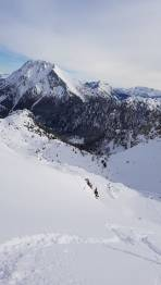Aufstieg im Gsuchkar , Lugauer im Hintergrund