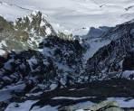 der Blick hinunter in die Palavicinirinne. So wenig Schnee wie noch nie
