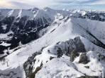 Blick vom Gipfel gegen Westen über den Fledermausgrat, Polster zum Eisenerzer Reichenstein