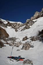 unterer Lohmgraben, Ausgangspunkt der Zäunlwandrinne, Anlegen der Steigeisen