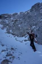 Kurz vor der Rodel wurden die Ski geschultert