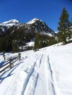 Durchgehende Schneedecke ab St. Nikolai zuerst entlang der Forststraße und zum Schluss am Almweg zur Kaltherberghütte