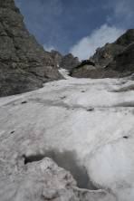 """Schlüsselstelle am Beginn der Rinne mit """"Gletscherspalten"""""""
