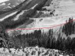 Die rot Linie zeigt den üblichen Aufstieg vom Liesinggraben Richtung Beisteineralm.