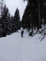 Sehr viel Schnee am Forstweg oberhalb der Hagenalm.