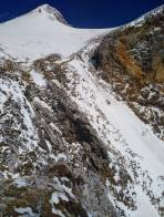 Gerade noch ausreichend Schnee beim Rinnen Ausstieg